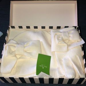 NWT KATE SPADE GIFT BOX OF HAT AND GLOVES W BOWS
